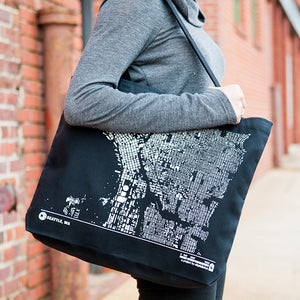 City Map Tote Seattle on Model