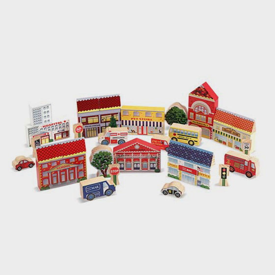 Town Blocks Wooden Play Set