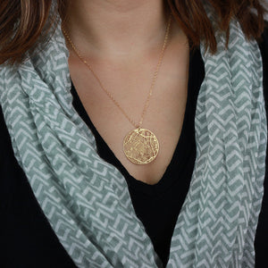Urban Grid Map Necklace Los Angeles Gold on Model