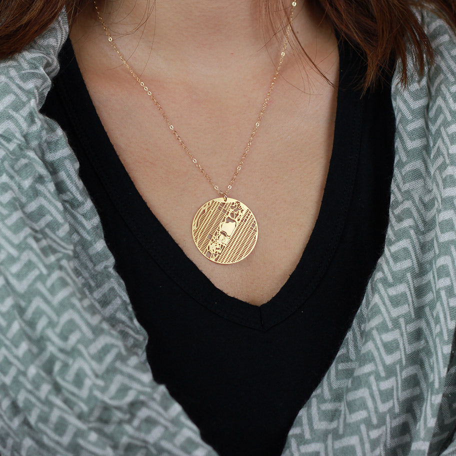 Urban Grid Map Necklace New York City Gold on Model