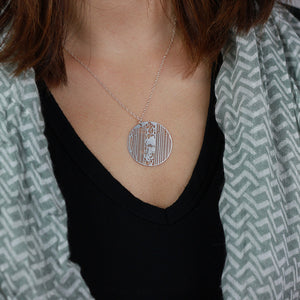 Urban Grid Map Necklace New York City Silver on Model