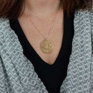 Urban Grid Map Necklace Gold on Model
