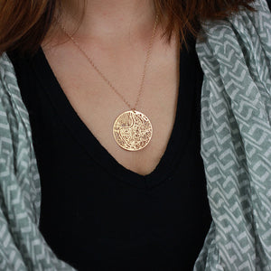 Urban Grid Map Necklace Rome Gold on Model