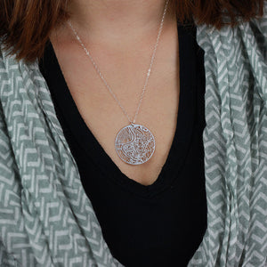 Urban Grid Map Necklace Rome Silver on Model