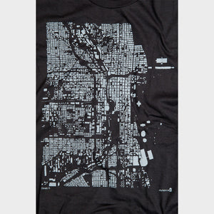 Chicago City Map T Shirt Detail