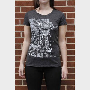 Fitted Chicago City Map T Shirt on Model