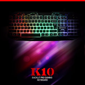 K10 7 Colors LED Backlit Gaming Keyboard