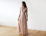 Lace three quarters Sleeve Blush-Pink maxi dress 1124 - Offy'z6