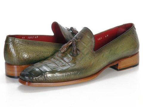 Paul Parkman Men's Green Crocodile Embossed Calfskin Tassel Loafer (ID#PP2281-GREEN)