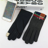 New Fashion Thickening Girls Warm Gloves Novelty Winter    Stitching design Outdoor Touch Screen Gloves 4 Colors - Offy'z6