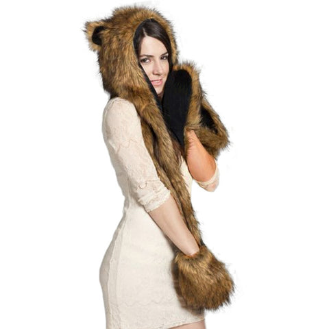 3 In 1  Faux Animal Fur Hat