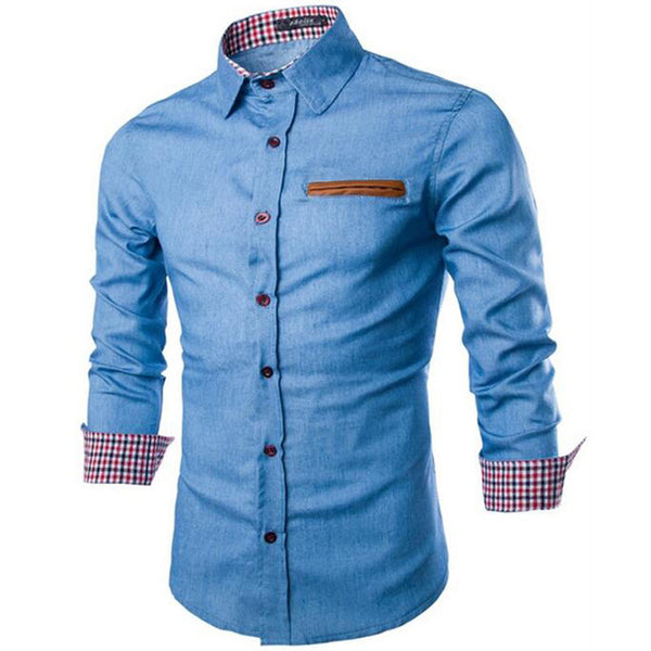 Long-Sleeve Turn-Down Fashion Collar Shirt