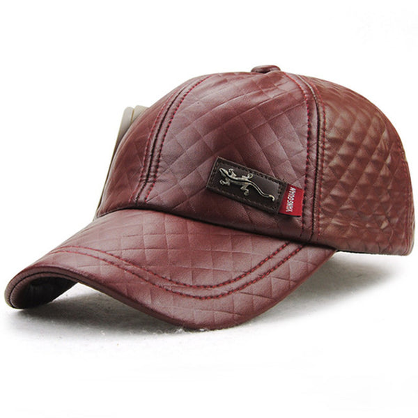 Faux leather winter Cap