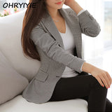 OHRYIYIE Women Blazers And Jackets 2017 Spring Autumn Slim OL Work Wear Blazer Simple Vintage Plaid Notched Casual Vestidos Coat - Offy'z6