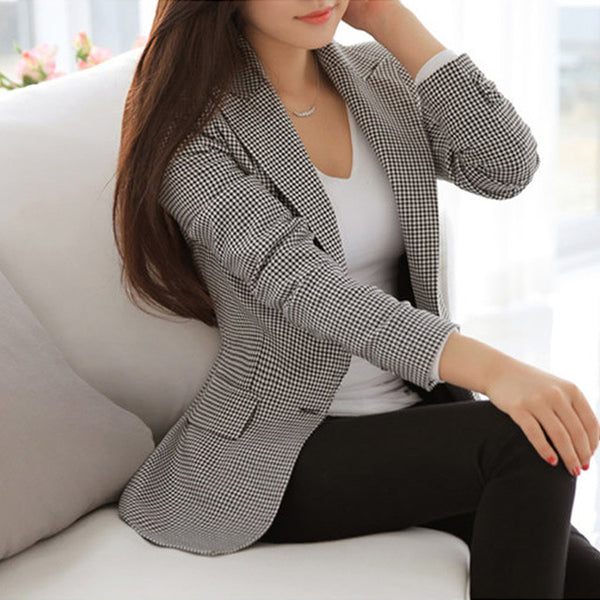 OHRYIYIE Women Blazers And Jackets 2017 Spring Autumn Slim OL Work Wear Blazer Simple Vintage Plaid Notched Casual Vestidos Coat