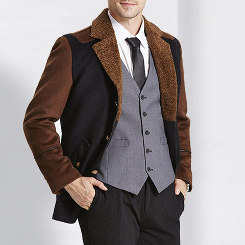 Solid Blends Casual Double Breasted Coat