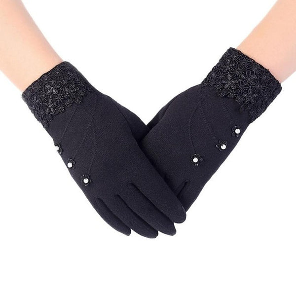 Lace Decoration Screen Winter Warm Gloves