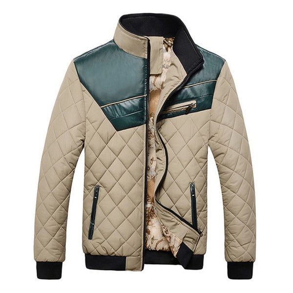TANGNEST 2017 Patchwork PU Description Winter Cotton Padded Men's Coat High Quality Outwear Warm New Jacket Male MWM824
