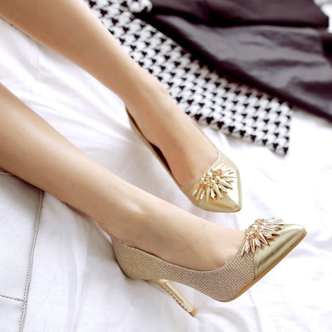 Gold  pointed toe high heels
