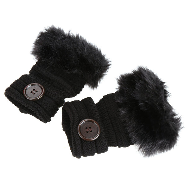 Women Winter Knitted Fingerless Wrist Hand Warmer Faux Fur Gloves Mittens 4 Color