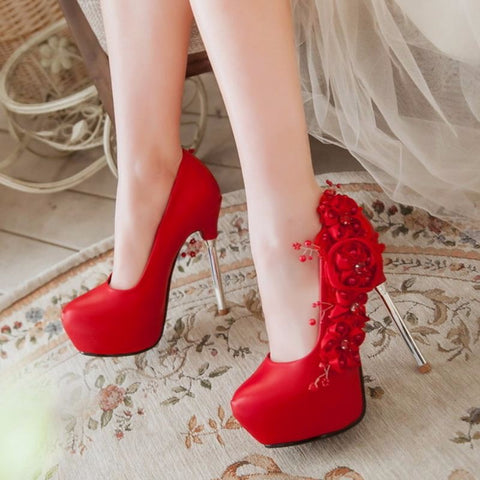 Round toe beauty - flower Styled heel shoes