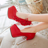 Round toe beauty - flower Styled heel shoes - Offy'z6