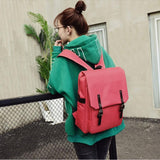 Simple Style Backpack Women PU Leather Shoulder Bag For Teenage Girls School Bags Fashion Vintage Solid Rucksack mochila #LREW - Offy'z6