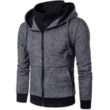 New Casual Fashion Hoodies Plain Mens Hoodie Sweatshirt Long Sleeve Full Zip Up Slim Fit Hooded Jacket Coat Man Sportswear XXXL - Offy'z6
