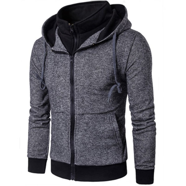 New Casual Fashion Hoodies Plain Mens Hoodie Sweatshirt Long Sleeve Full Zip Up Slim Fit Hooded Jacket Coat Man Sportswear XXXL