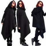 Women Poncho Hooded Sweatshirts Black Gown Mantle Hoodies Fashion Jacket long Sleeves Cloak Woman's Irregular Coats C77501A - Offy'z6