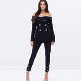 Off-shoulder Blazer Double Botton Overcoat - Offy'z6