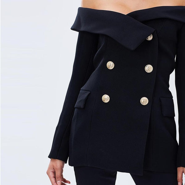 Off-shoulder Blazer Double Botton Overcoat