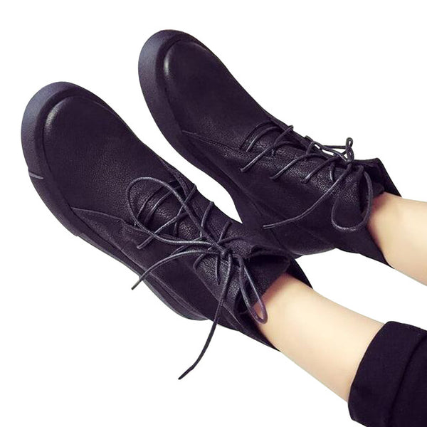 Oxford Button Round Toe Ankle Boots