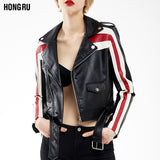 Leather Red Stripe Jacket - Offy'z6