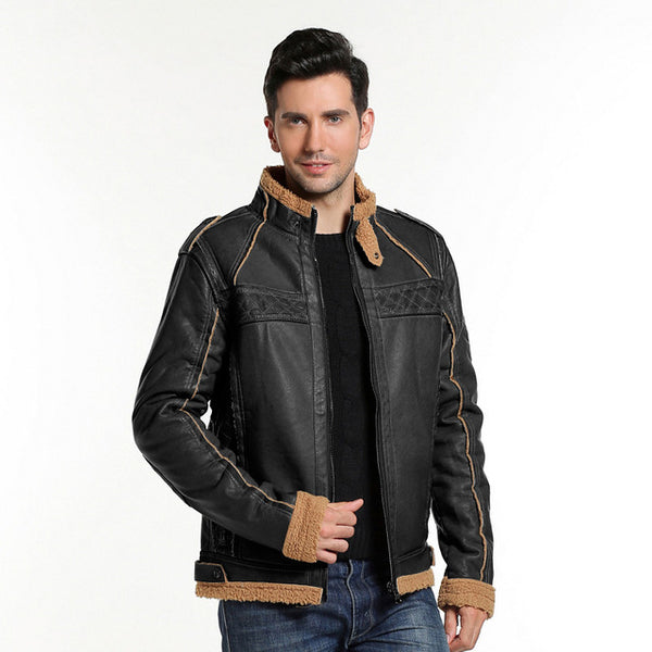 Windproof Thick Men's Leather Jacket