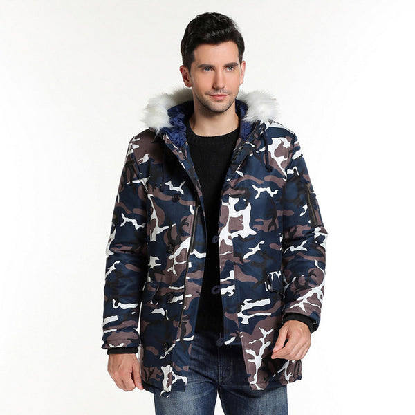 Camouflage Big Collar Long Coat Jacket
