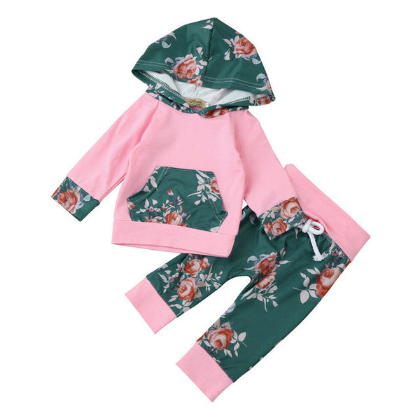 Floral Hoodie Tops + Pants baby Outfits