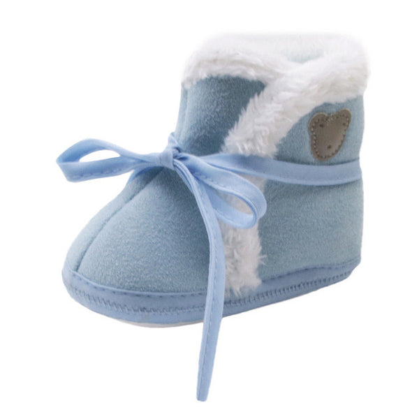 Toddler Newborn Baby winter shoes Bear Print Soft Sole Boots Prewalker Warm Shoes baby boots drop ship