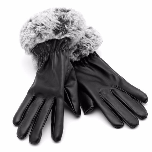 Rabbit Fur Leather Gloves Winter