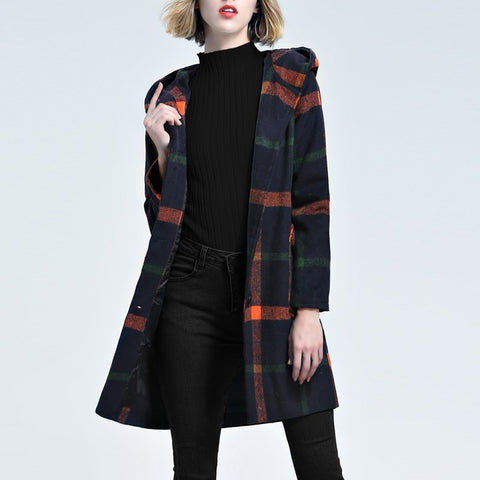 Plaid Hooded Trench Coat Jacket Vinatge
