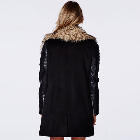 Faux Fur Coat Long Sleeve Leather