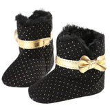 winter baby shoes bow knot kids girl first walker Cotton Cloth Toddler Infant Crib Snow Boots Soft Sole prewalker Crib Shoes - Offy'z6
