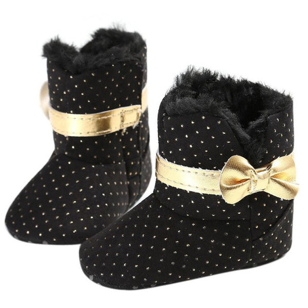 winter baby shoes bow knot kids girl first walker Cotton Cloth Toddler Infant Crib Snow Boots Soft Sole prewalker Crib Shoes
