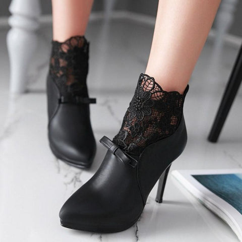 Lace Patchwork Bowknot Zipper Heel