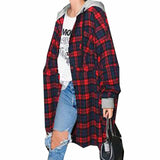 Women Fashion Casual Loose Hooded Plaid Check Long Sleeve Pockets Button Long Blouse Top Hoodei Outwear Coat Jacket - Offy'z6