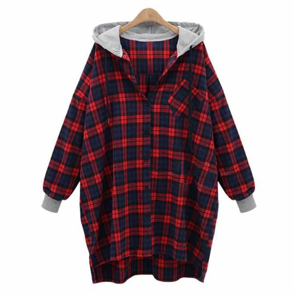 Women Fashion Casual Loose Hooded Plaid Check Long Sleeve Pockets Button Long Blouse Top Hoodei Outwear Coat Jacket