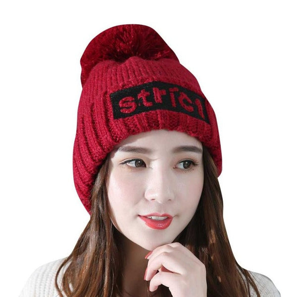 STRICT Letters Beanie Hat 2017 New Autumn Winter Warm hats for women Elegant Boina Feminina Flannel Caps Outdoor Ski Beanies
