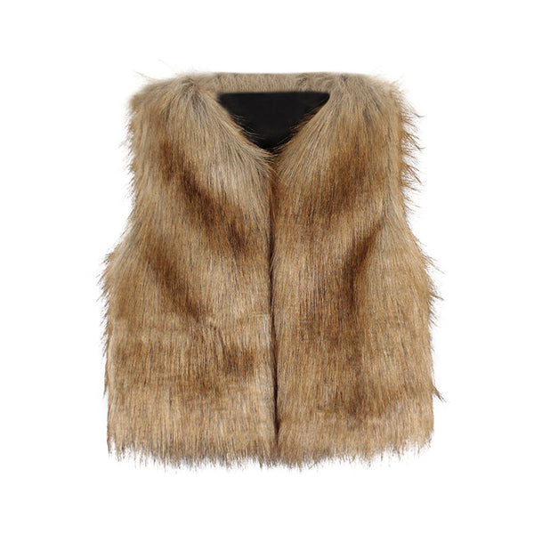 Girl's Faux Fur Waistcoat Thick Coat
