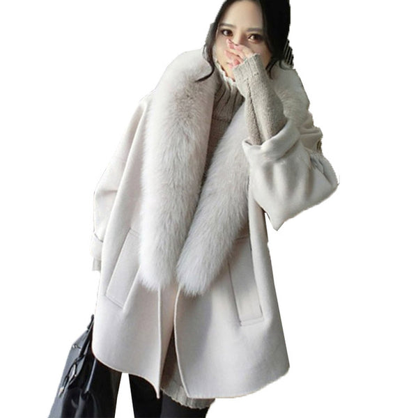 Elegant Women'z Faux Fur Collar Fashion