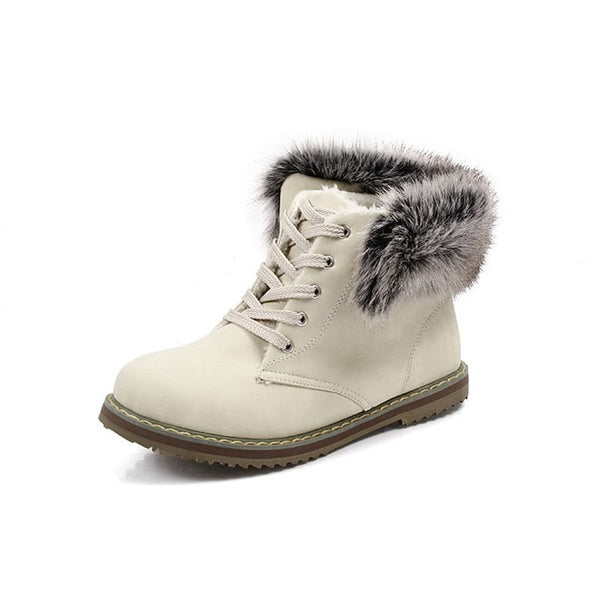 Fur boots lace up round toe